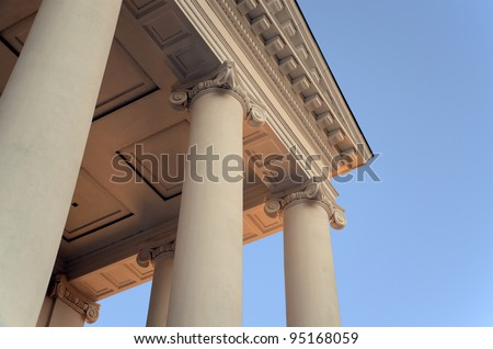 Coffers and Column Capitals in Greek Architecture - stock photo