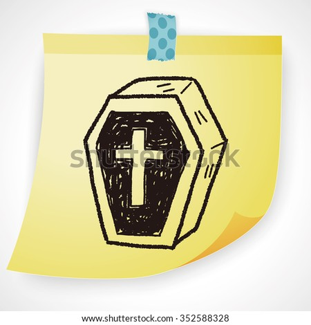 Coffin doodle - stock photo