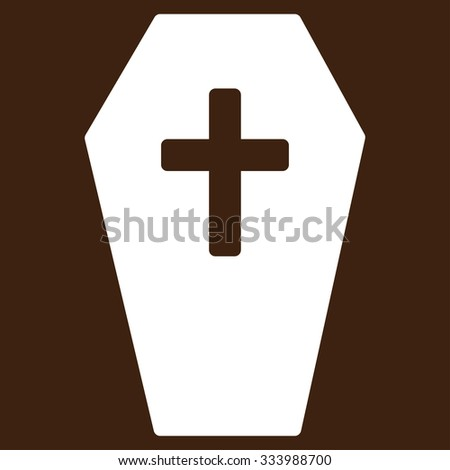 Coffin glyph icon. Style is flat symbol, white color, rounded angles, brown background.