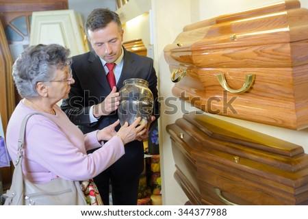 coffin shop - stock photo