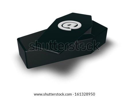coffin with email symbol - 3d illustration - stock photo