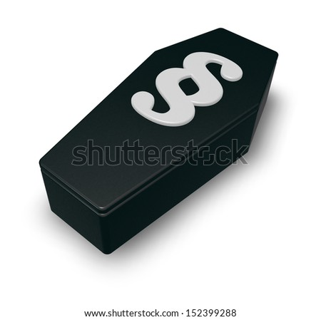 coffin with paragraph symbol on white background - 3d illustration - stock photo