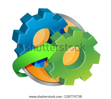 cog wheel button illustration design over a white background - stock photo