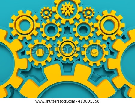 Cog wheels background. Decoration pattern from gears. Precision machinery relative backdrop. 3D rendering - stock photo