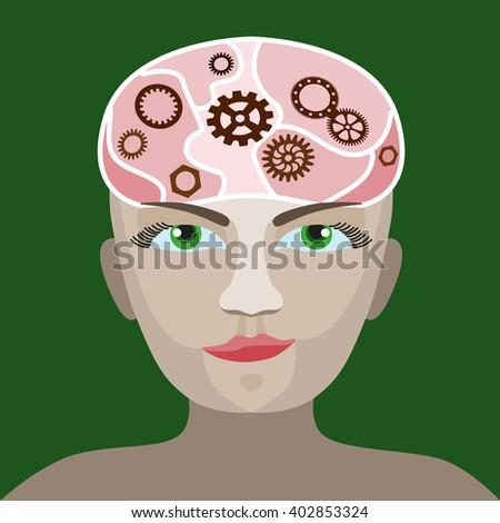 cog wheels forming a brain shape in the head shape. the concept of human intelligence. Head and Brain Gears in Progress - stock photo
