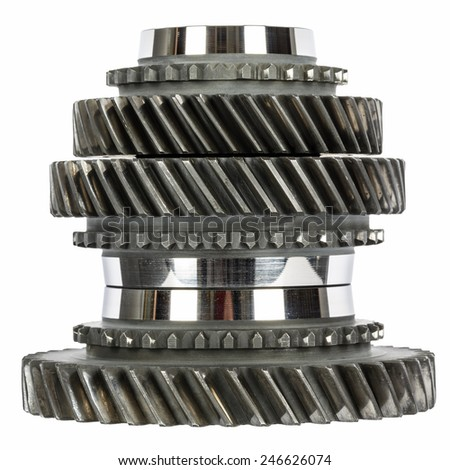 Cog wheels removed from the mainshaft of gearbox stacked in a pile - stock photo