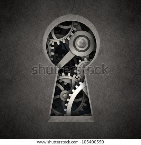 Cog wheels seen through a keyhole - stock photo