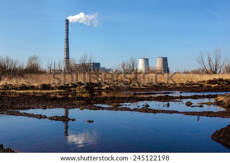 Cogeneration plant (combined heat and power station) in Kyiv, Ukraine. Industrial landscape. - stock photo