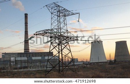 Cogeneration plant near Kyiv, Ukraine. Electricity pylon in the foreground.