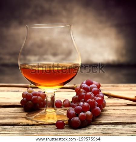 cognac and fruits  - stock photo