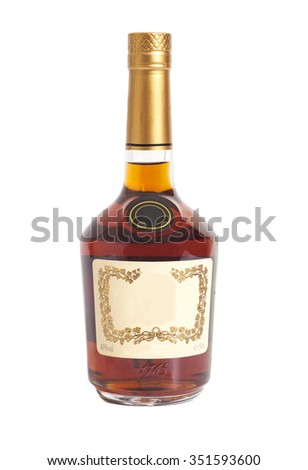 Cognac bottle isolated on white background - stock photo