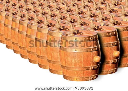 Cognac in Oak Barrels Cellar - stock photo