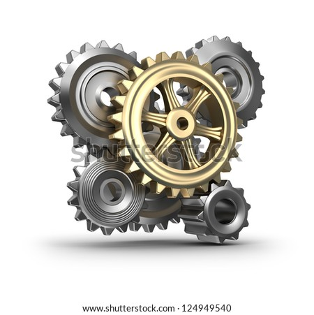 Cogs and gears. - stock photo