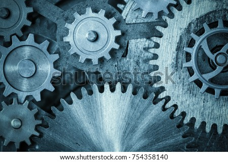 cogs and gears blue metal background 3d illustration