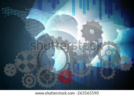 Cogs and wheels against global business graphic in blue