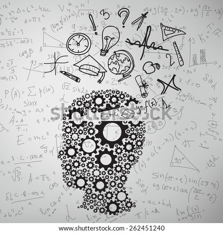 cogs head with educations symbol, close up - stock photo