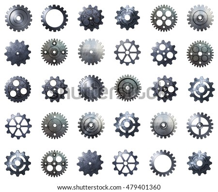 cogwheel mega pack. metal gear with real texture on isolated background. 3d illustration.