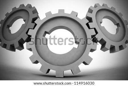 cogwheels - business network - illustration - stock photo