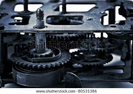 cogwheels in old clock - stock photo
