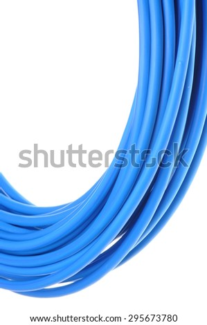 Coil of electrical cable on isolated on white background