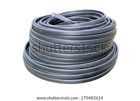 Coil of electrical wire in black insulation isolated on a white