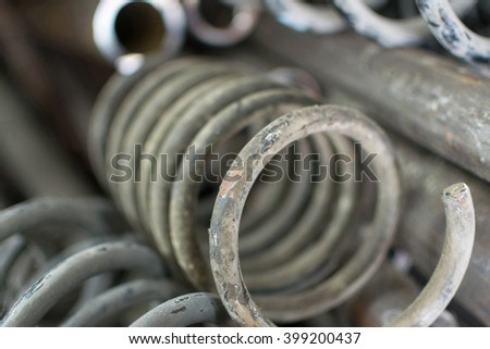 Coil spring rusty for car wait for repair in garage