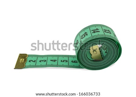 Coiled green tape measure isolated on white background