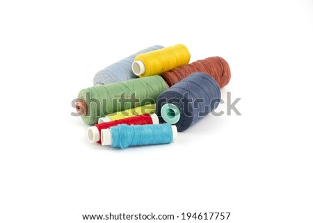 Coils are colored threads on a white background