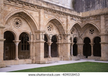 COIMBRA, PORTUGAL - FEBRUARY 07, 2016: The cloister colonnade in the Old Cathedral of Coimbra, Portugal