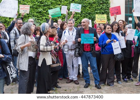 Coimbra, Portugal - June 3, 2016. Anthropologists protesting against the removal of Brazil's president, Dilma Rousseff, during the 6th Congress of the Portuguese Anthropological Association. - stock photo