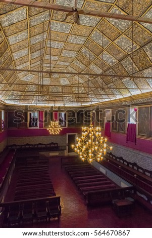 COIMBRA, PORTUGAL - JUNE 8: Great Hall of Acts at University of Coimbra in Portugal on June 8, 2016. Coimbra is the largest city of the district of Coimbra, the Centro region.