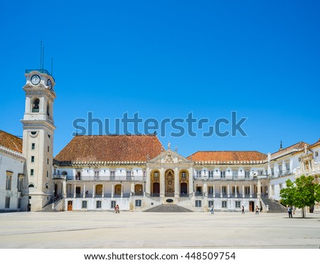 Coimbra, Portugal - June 21, 2016. Young students crossing Patio das Escolas courtyard of the Coimbra University. Portugal. - stock photo
