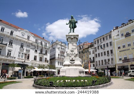 COIMBRA, PORTUGAL - MAY 29, 2012: Monument on the square in the university town Coimbra - stock photo