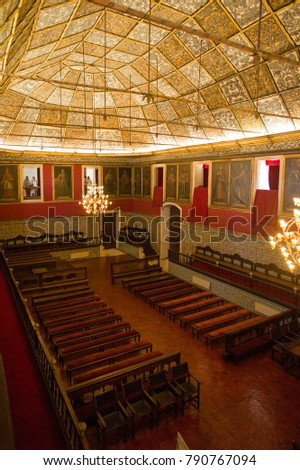 Coimbra, Portugal - May 28, 2016: The interior of  the main hall of University of Coimbra, Unesco Heritage Site and most important tourist attraction