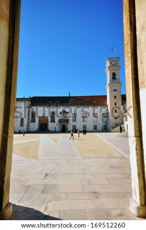 Coimbra university through the doors, Portugal - stock photo
