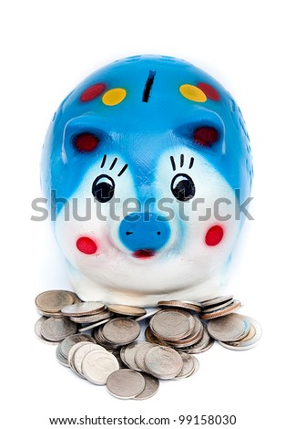 coin and piggy bank isolated on white background. - stock photo