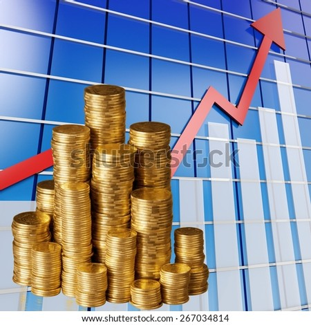 Coin, Gold, Stack. - stock photo