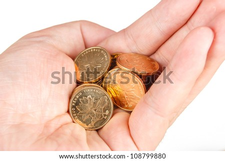 Coin in hand - stock photo