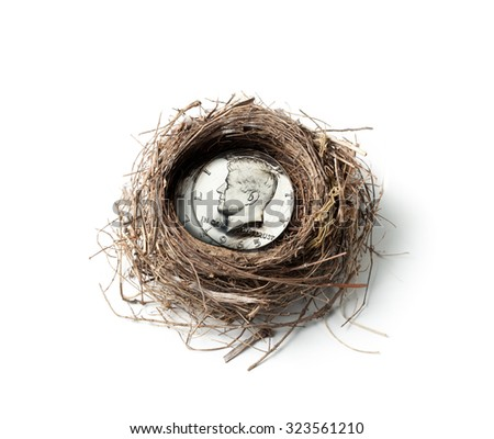 Coin in Nest investment concept - stock photo