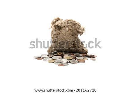 coin in sack isolated on white background - stock photo
