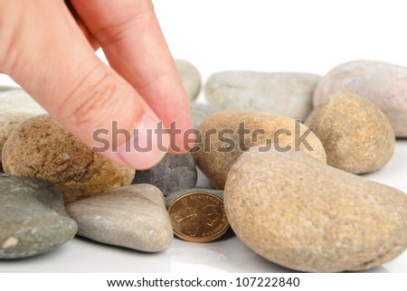 Coin in stone - stock photo