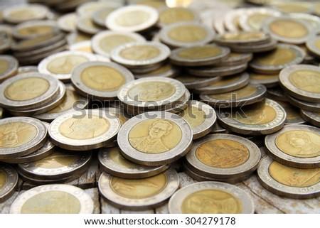 coin money stock Thai Bath - stock photo