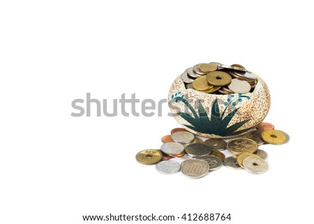 coin money yen in jar on the isolated - stock photo