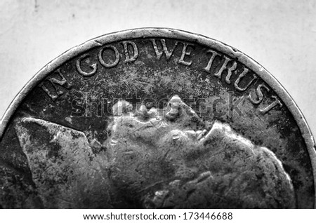Coin of Silver American Money with words In God We Trust - stock photo