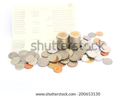 Coin of Thailand on Saving Account Passbook - stock photo