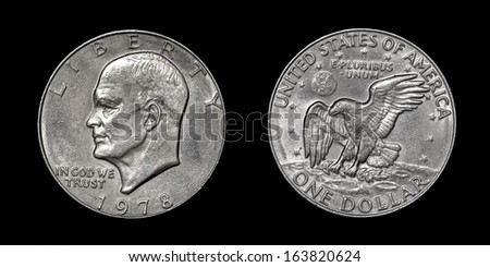 Coin of USA (one dollar) with image of Dwight Eisenhower- obverse and reverse