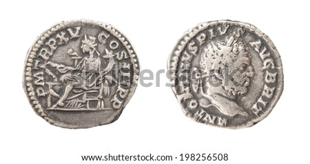 Coin Old silver Roman denarius, 186-217  - stock photo