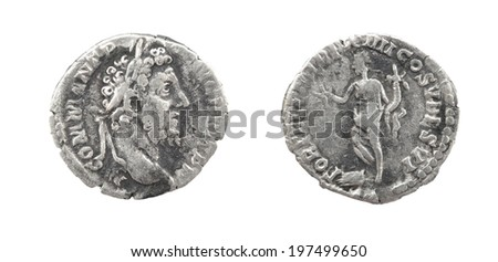 Coin Old silver Roman denarius, 138-161, ANTONINVS AVG(ustus) PIVS P(ater) P(atriae)TR(ibunicia) POT(estas) CO(n)S(ul) IIII - stock photo
