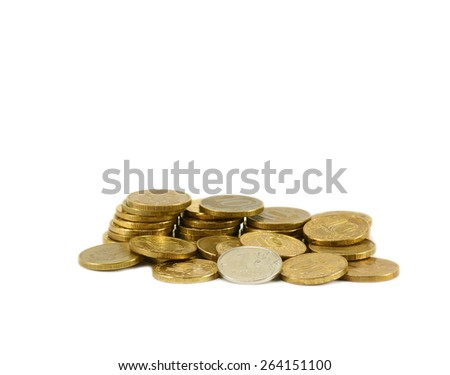Coin one ruble coins is among ten rubles - stock photo
