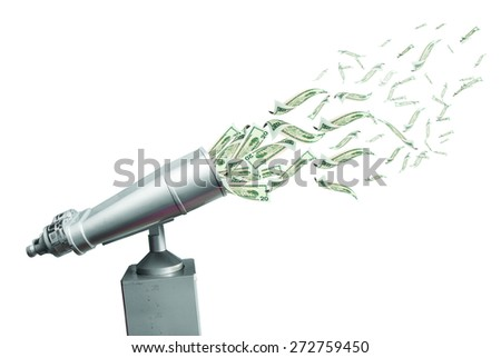 coin-operated binoculars attracting flying dollar bills, isolated on white. - stock photo